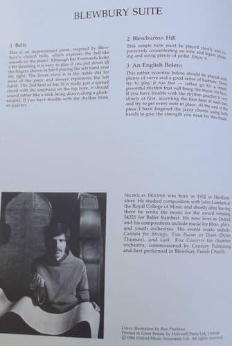 Sheet Music BLEWBURY SUITE Nicholas Hooper piano BLEWBURTON HILL Bells BOLERO